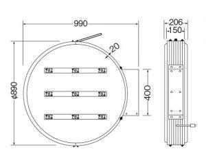 LED丸型突出し看板φ600図面