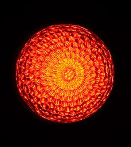 最新LEDサイン球・正面図(赤)