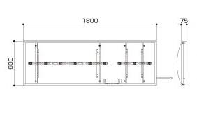 サンワLED壁面H600×W1800×D75