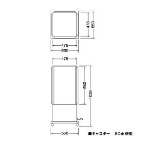 ボックス電飾スタンド(中・土台が広いタイプ)図面