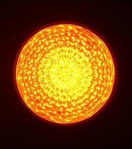 最新LEDサイン球・正面図(黄色高輝度)